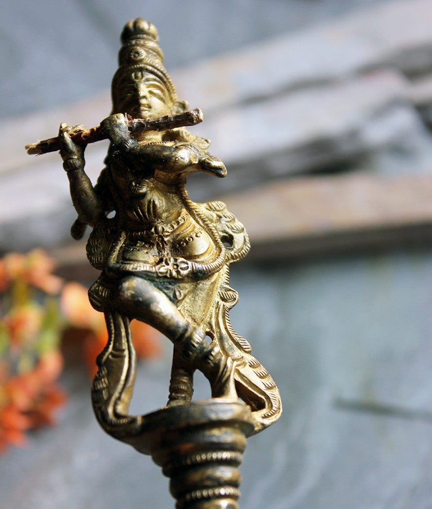 Brass Puja or Prayer Spoon with Lord Krishna and Twin Peacocks - theindianweave