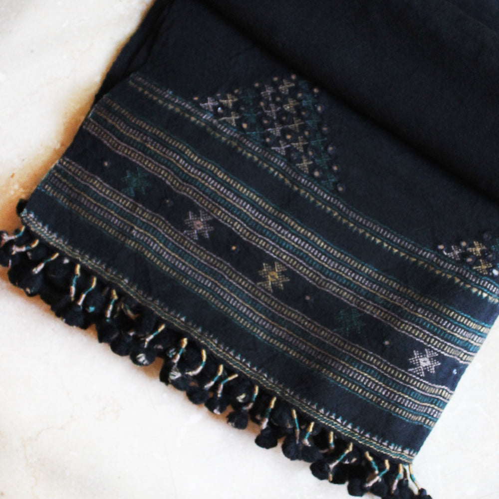 Black & Grey Handwoven Woollen Scarf With Mirror Work From Kutch, Gujarat - 198 cm x 76 cm