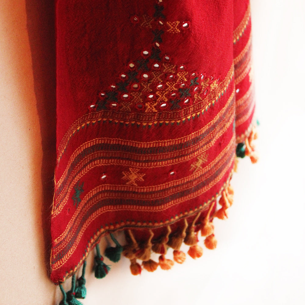 Wine Red | Maroon  Handwoven Woollen Scarf With Mirror Work From Kutch, Gujarat - 198 cm x 76 cm