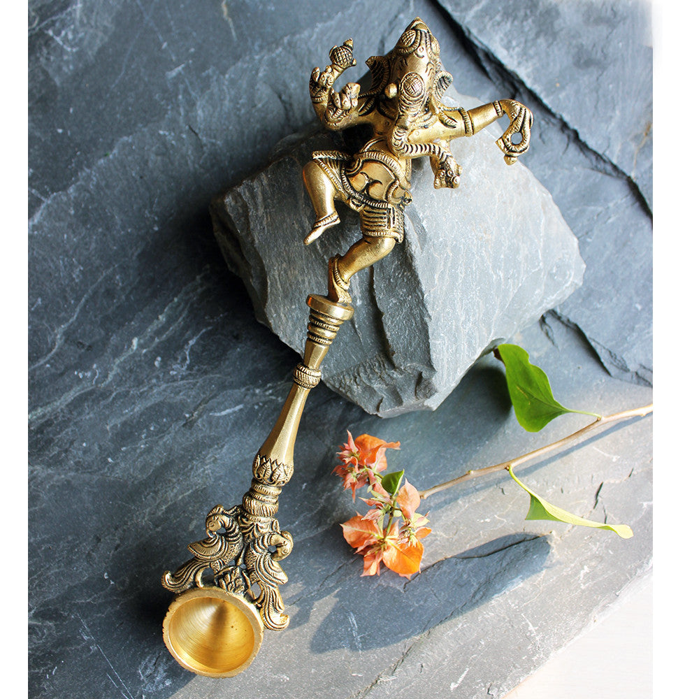 Prayer / Puja Spoon With Lord Ganesha & Twin Peacocks Handcrafted in Brass - 28 cm Length - theindianweave