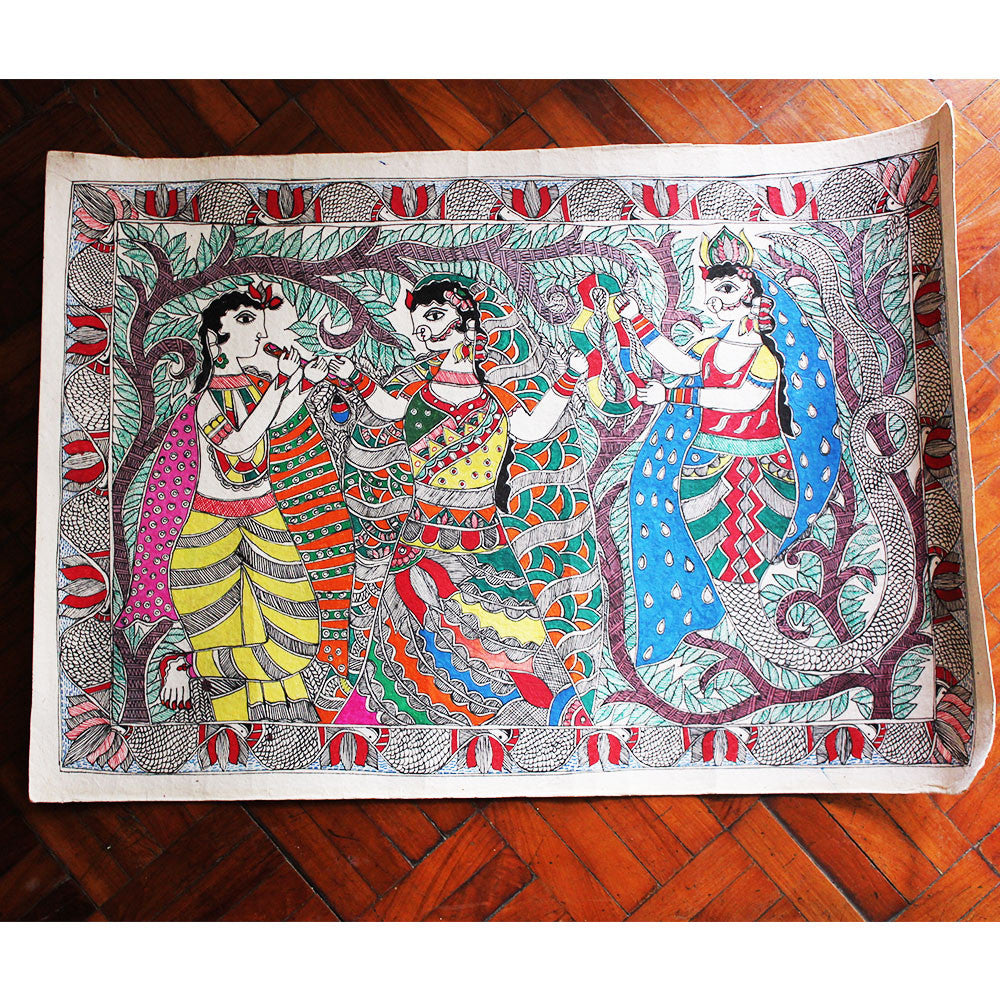 Madhubani Painting of Lord Krishna With Village Belles Painted On Hand Made Paper - 56 cm x 36 cm