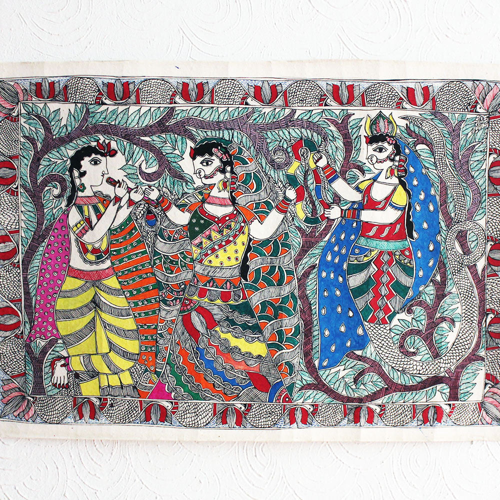 Madhubani Painting of Lord Krishna With Village Belles Painted On Hand Made Paper - 56 cm x 36 cm - theindianweave
