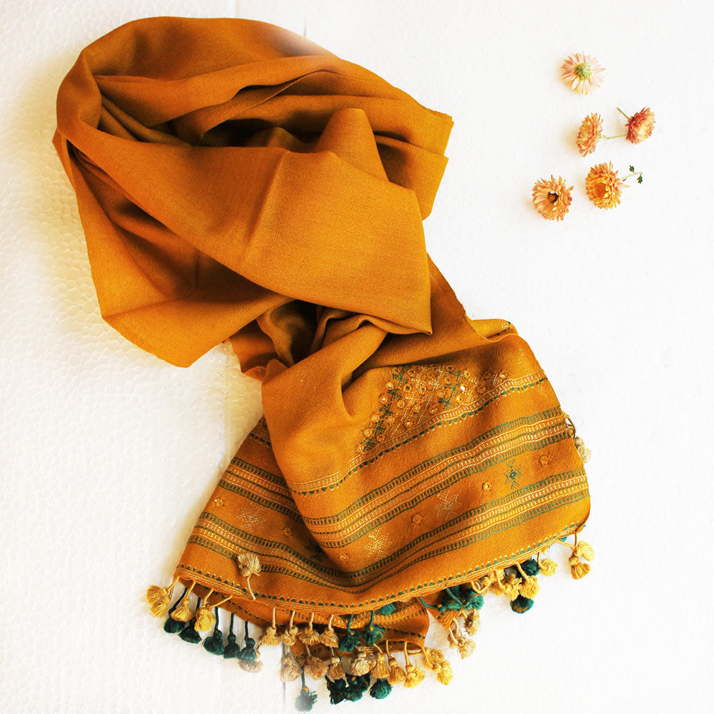 Pure Wool Ochre Yellow Stole From Kutch, Gujarat &  Hand Embroidered With Mirror Work -L 195 cm x W 60 cm