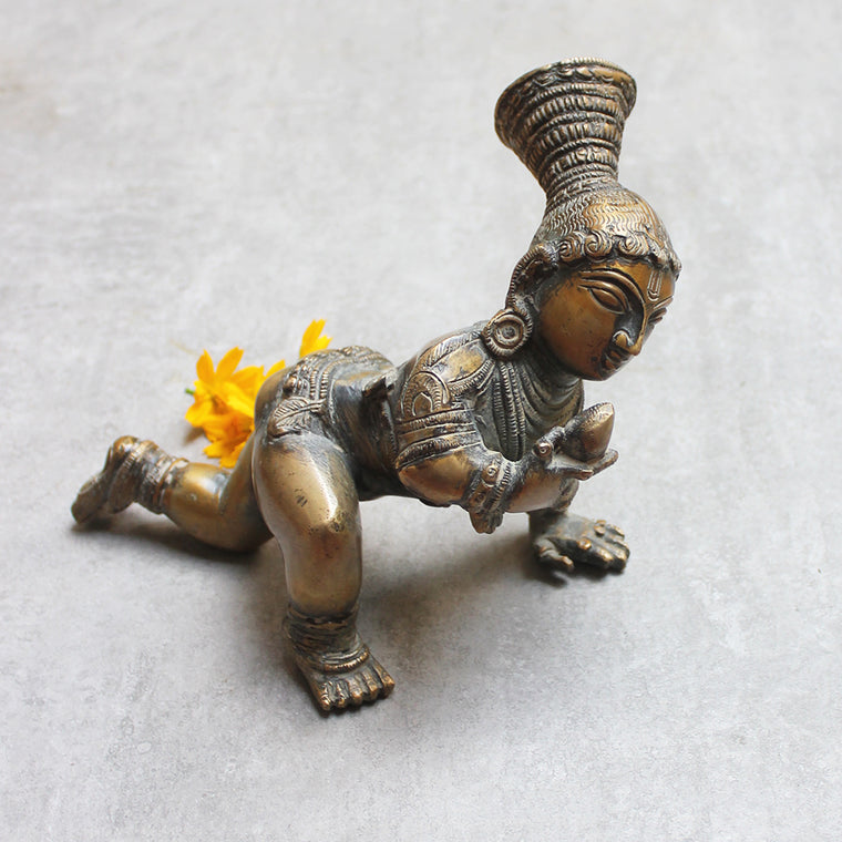 Vintage Brass Sculpture of Balakrishna or Divine Child Krishna . Length 20 cm x Ht 14 cm x W 15 cm