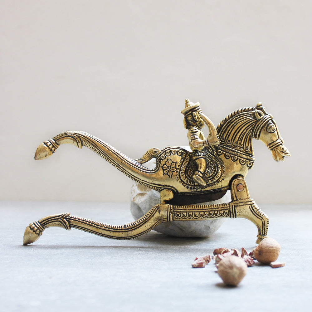 Majestic Brass Nut Cutter With A Galloping Horse & Rider - Length 22 cm x Height 12 cm