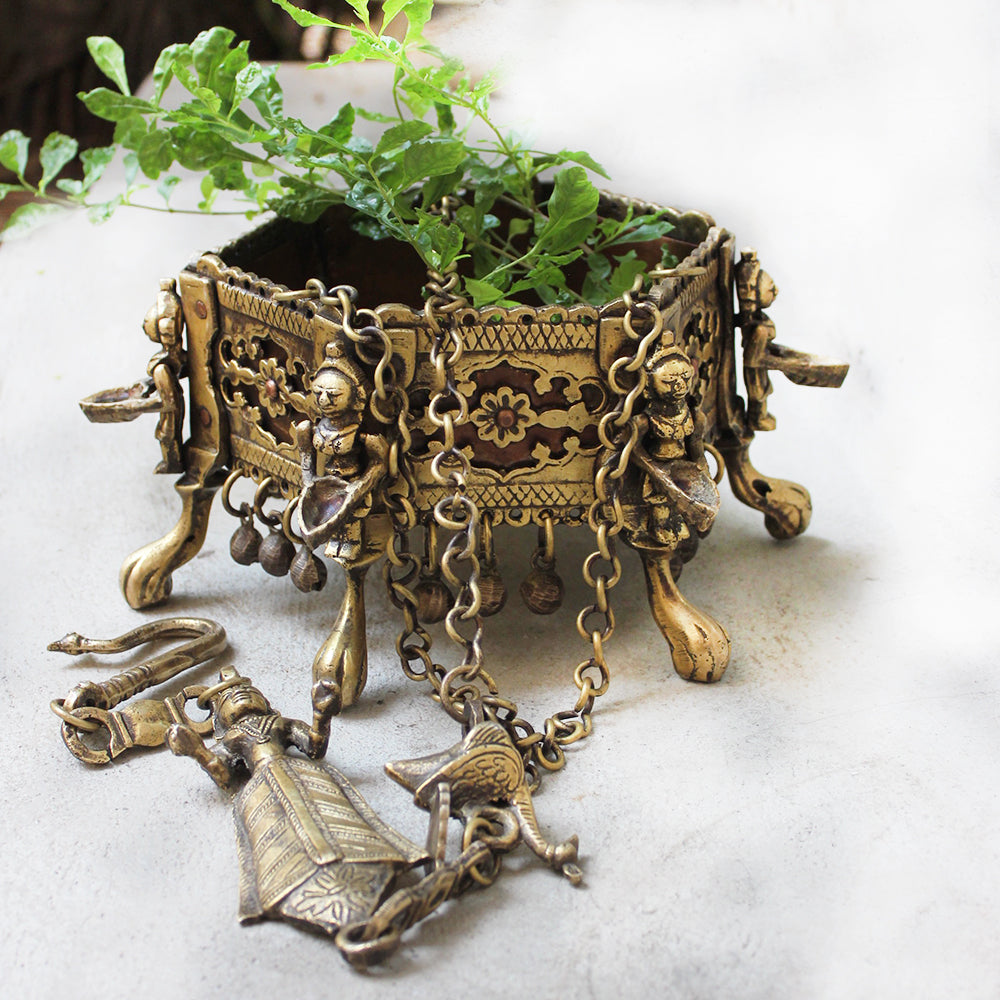 Vintage Octagonal Hanging Brass Planter With 6 Worshippers Holding Oil Lamps - Length 80 cm x 16 cm Dia