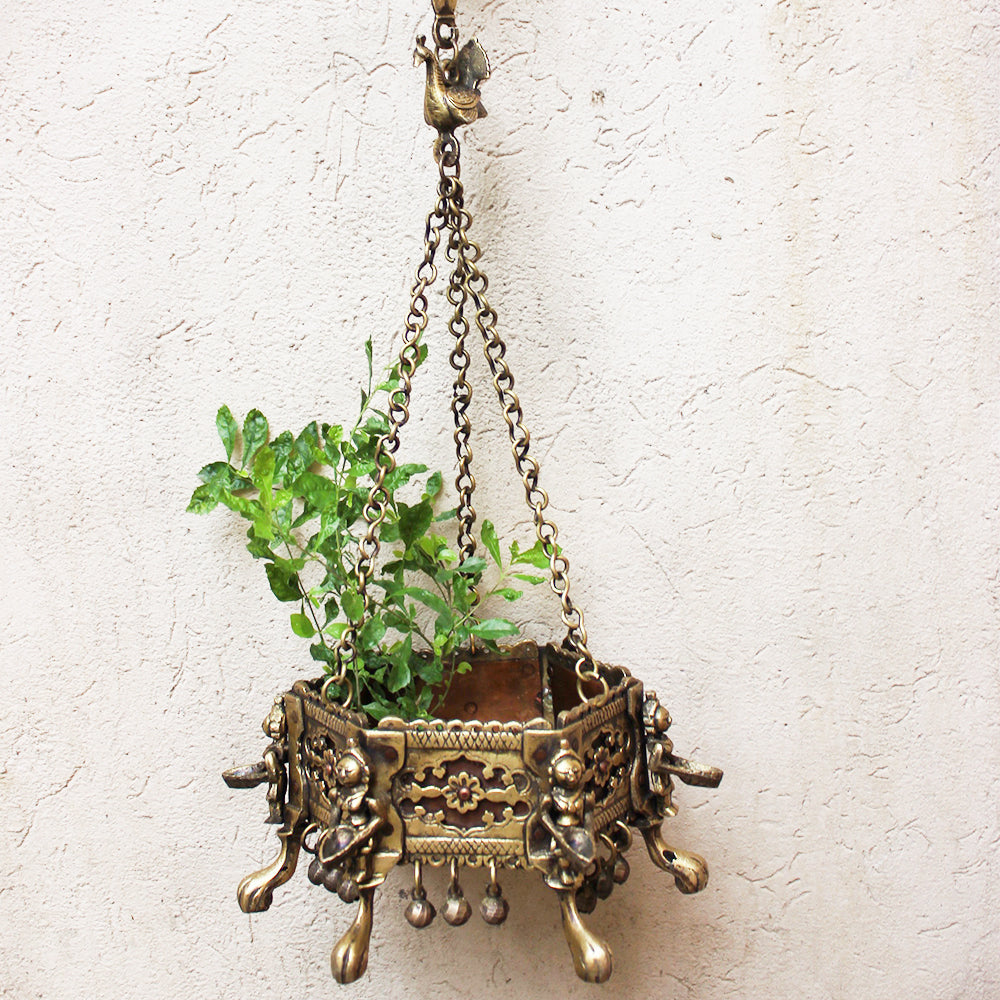 Vintage Hexagonal Hanging Brass Planter With 6 Worshippers Holding Oil Lamps - Length 80 cm x 16 cm Dia