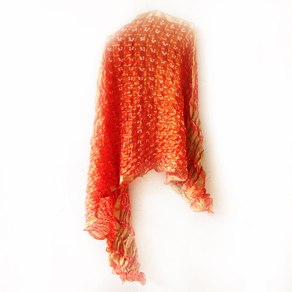 Flame Orange Jaipuri Bandhej Silk Dupatta | Scarf With Gold Border. L 230 cm x W 110 cm
