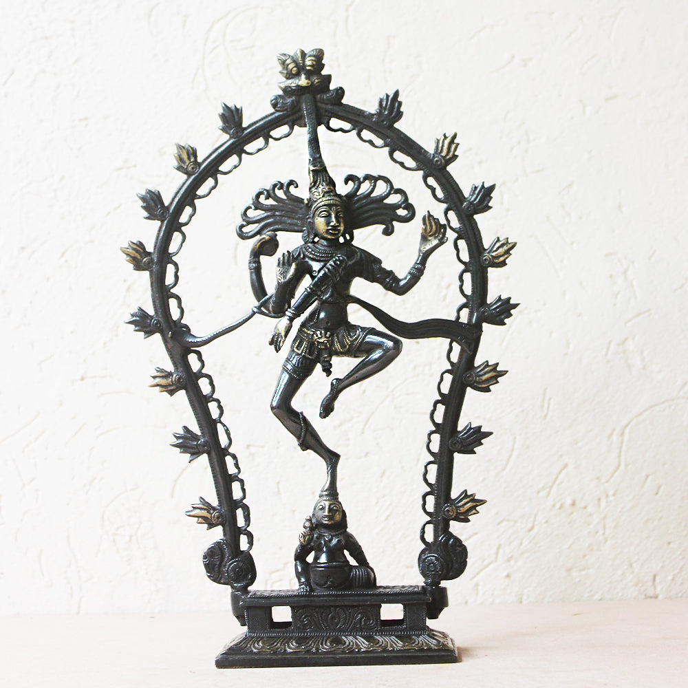 Majestic Black & Gold Oval Brass Sculpture Of Lord Shiva As Dancing Natraja - H 30 cm x W 20 cm