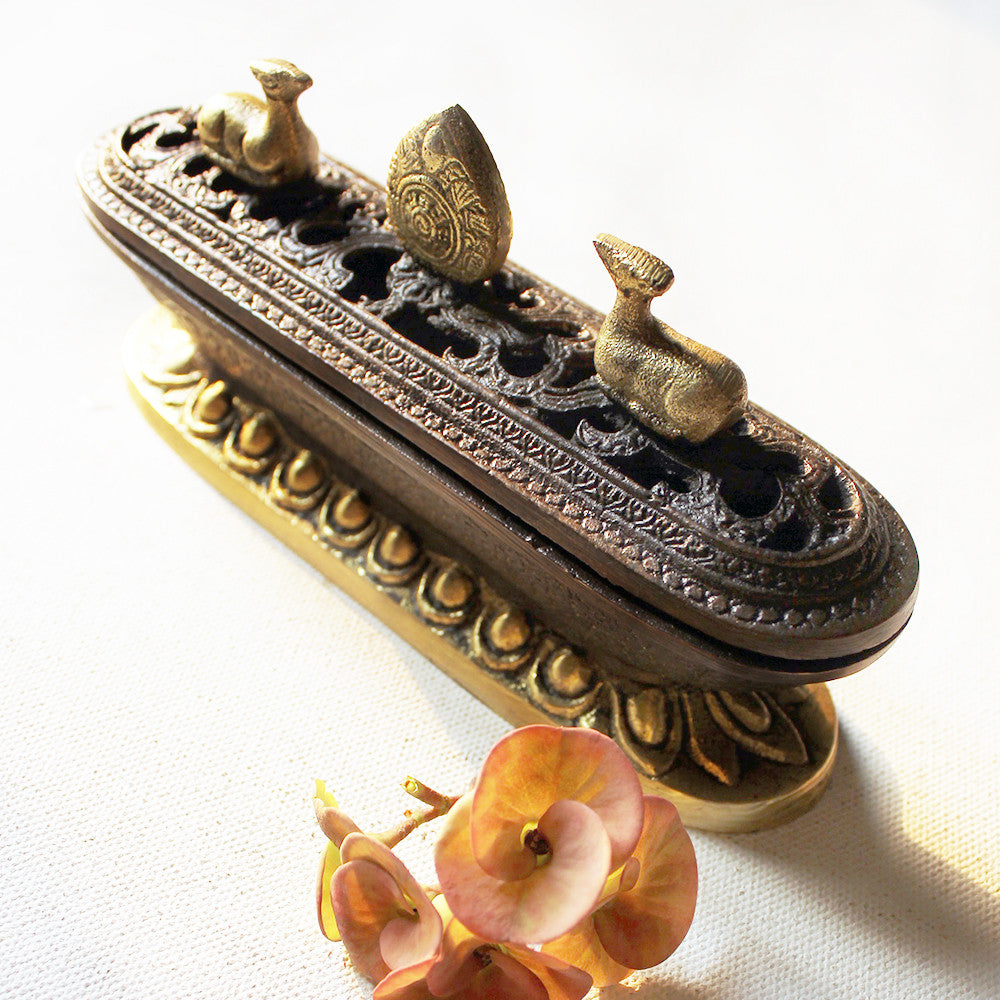 Vintage Hand Crafted Dark Patina & Brass Finish Incense Burner - 17 x 8.5 x 4.5cm - theindianweave