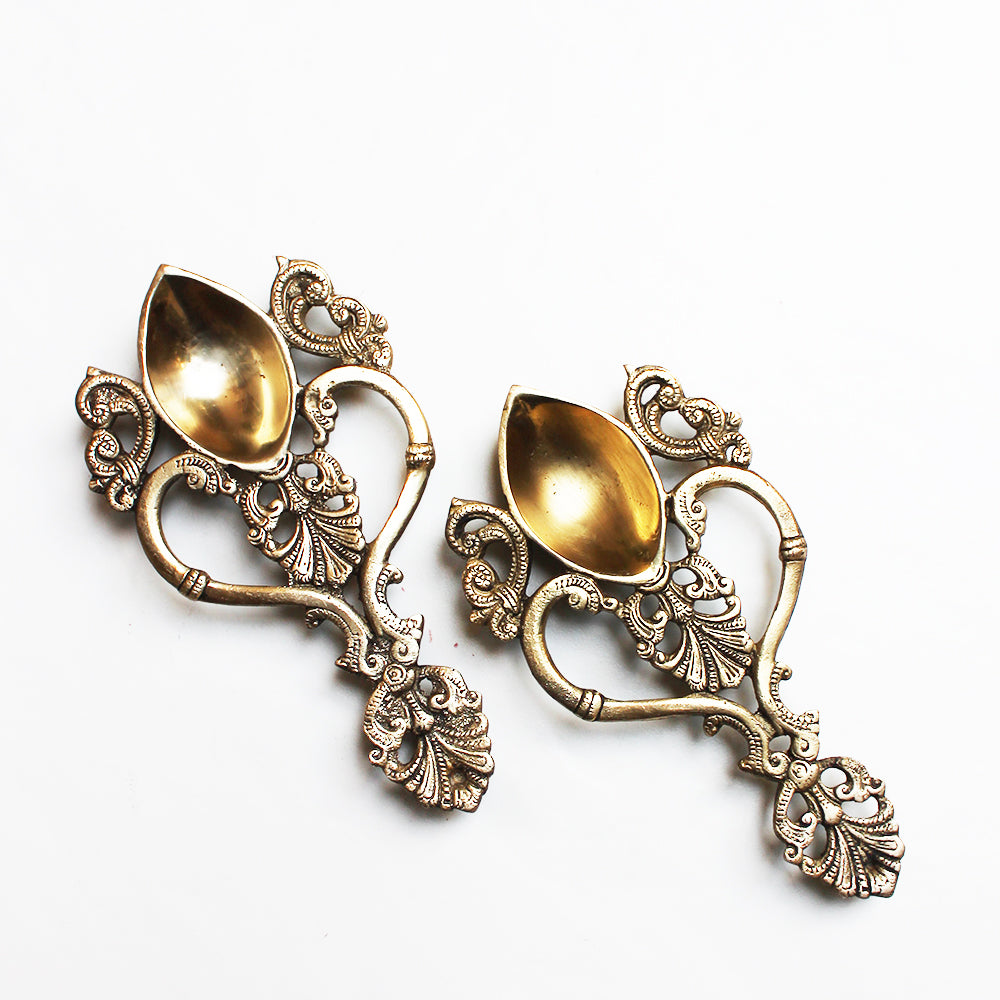 Pair of Exquisite Spoon Shape Oil And Wick Lamps With Filigree Handles.  L 20 cm x W10 cm