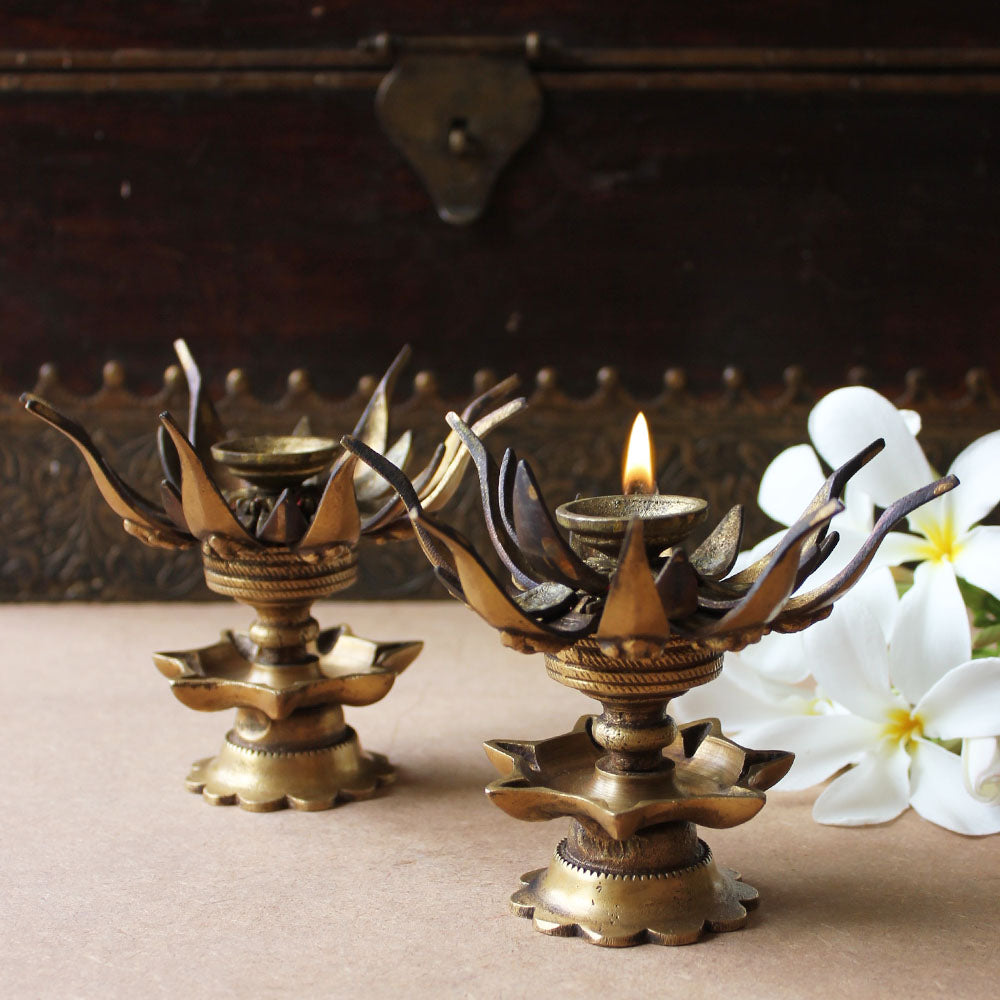 Pair Of Vintage Brass Oil Lamps Made Of Sixteen Lotus Petals With Lord Ganesha & 8 Oil Diyas - H 12 cm x W 8 cm - theindianweave