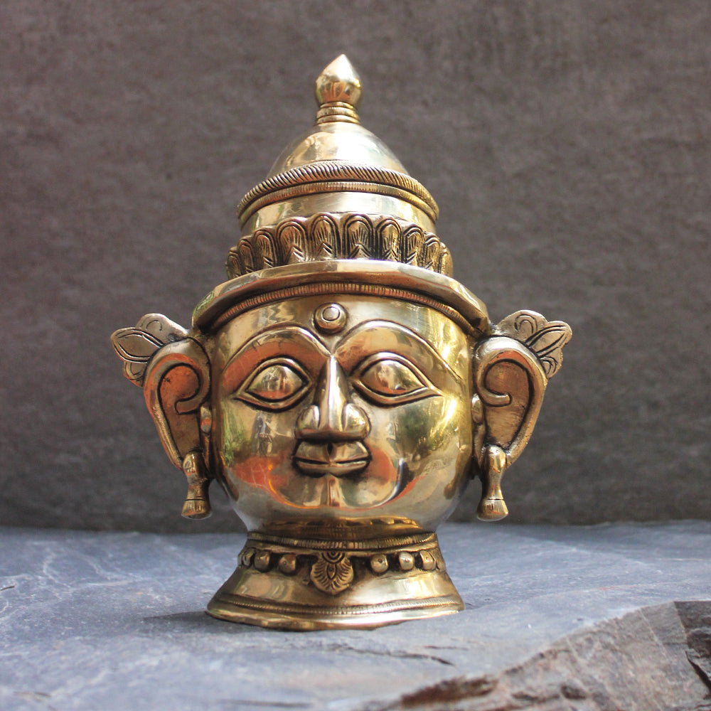 Exquisite Brass Mukhlingam of Hindu Goddess Parvati - Wife Of Shiva. Ht 23 cm x W 18.5 cm