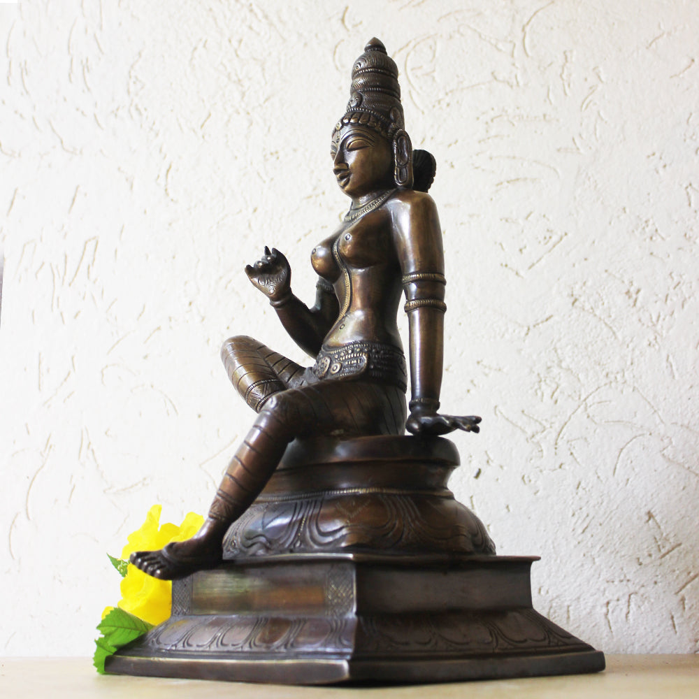 Parvati - Indian Goddess of Fertility, Love & Devotion Handcrafted in Brass. Height 33 cm  13 cm, HandCrafted Brass Indian Goddess