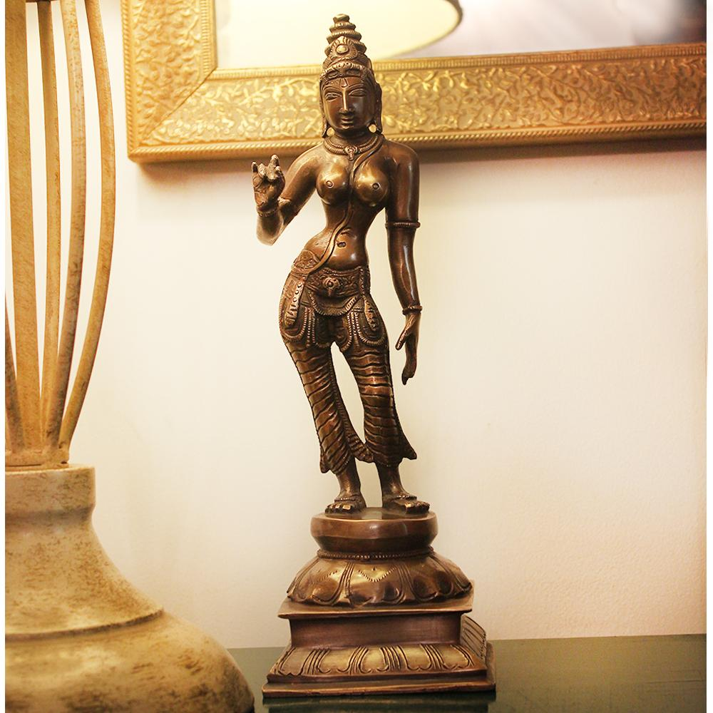 Divine Brass Sculpture Of Parvati - Goddess of Fertility, Love & Devotion. Height 30 cm