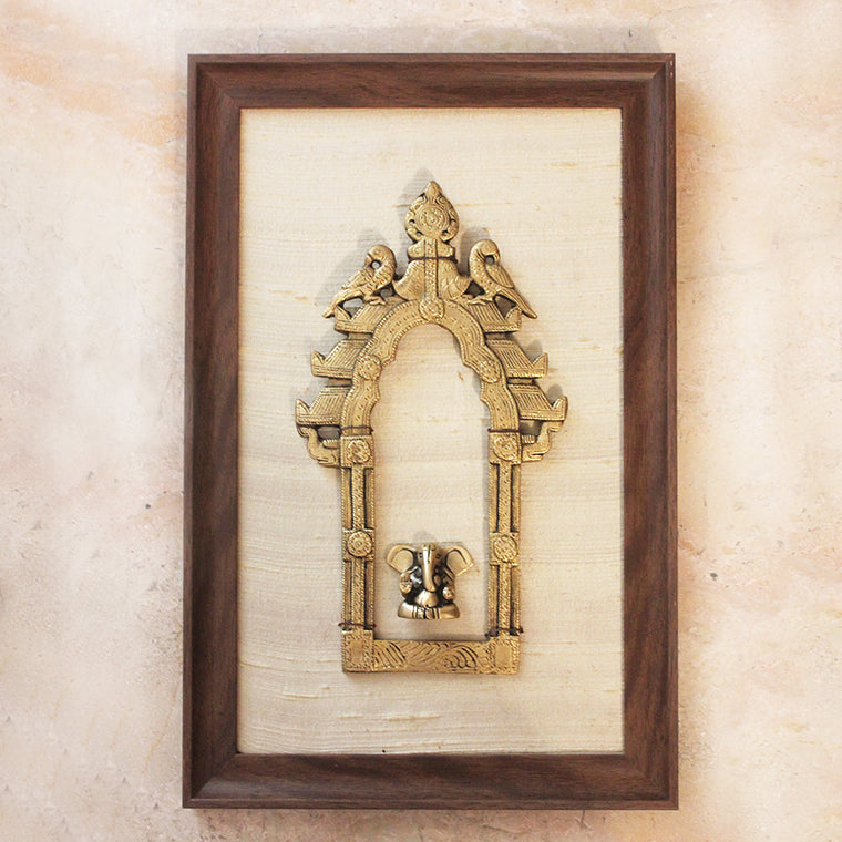 Brass Temple Prabhavali Frame With Twin Peacocks & Lord Ganesha Framed On Silk- 40 cm x 26 cm