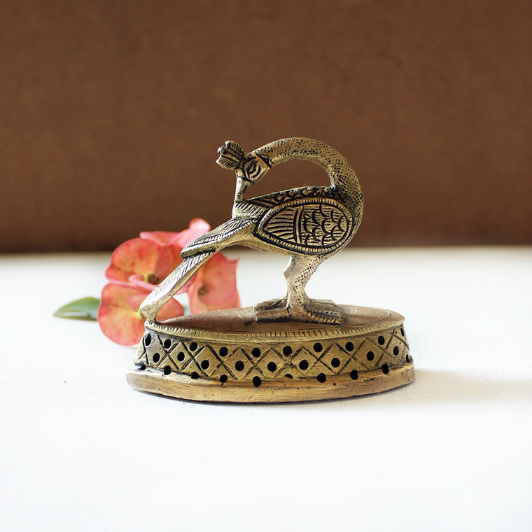 Vintage Brass Teardrop Vajri | Foot Scrubber With An Exquisite Peacock - L 8 cm x W 4 cm x Ht 7.5 cm