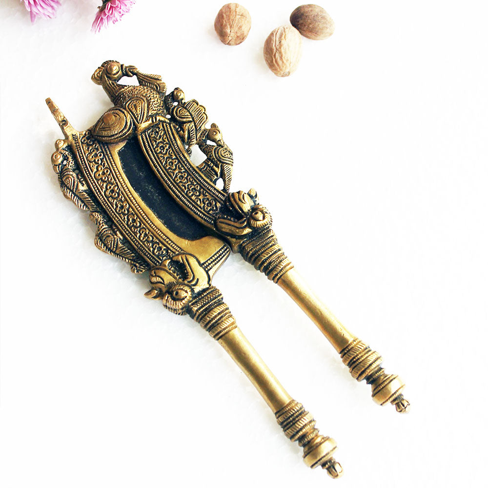 Vintage Brass Nut Cutter With Peacocks & The Mythical Yali Handcrafted In South India - Length 20 cm x Width 8 cm - theindianweave