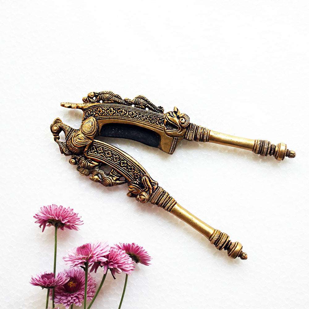 Vintage Brass Nut Cutter With Peacocks & The Mythical Yali Handcrafted In South India - Length 20 cm x Width 8 cm