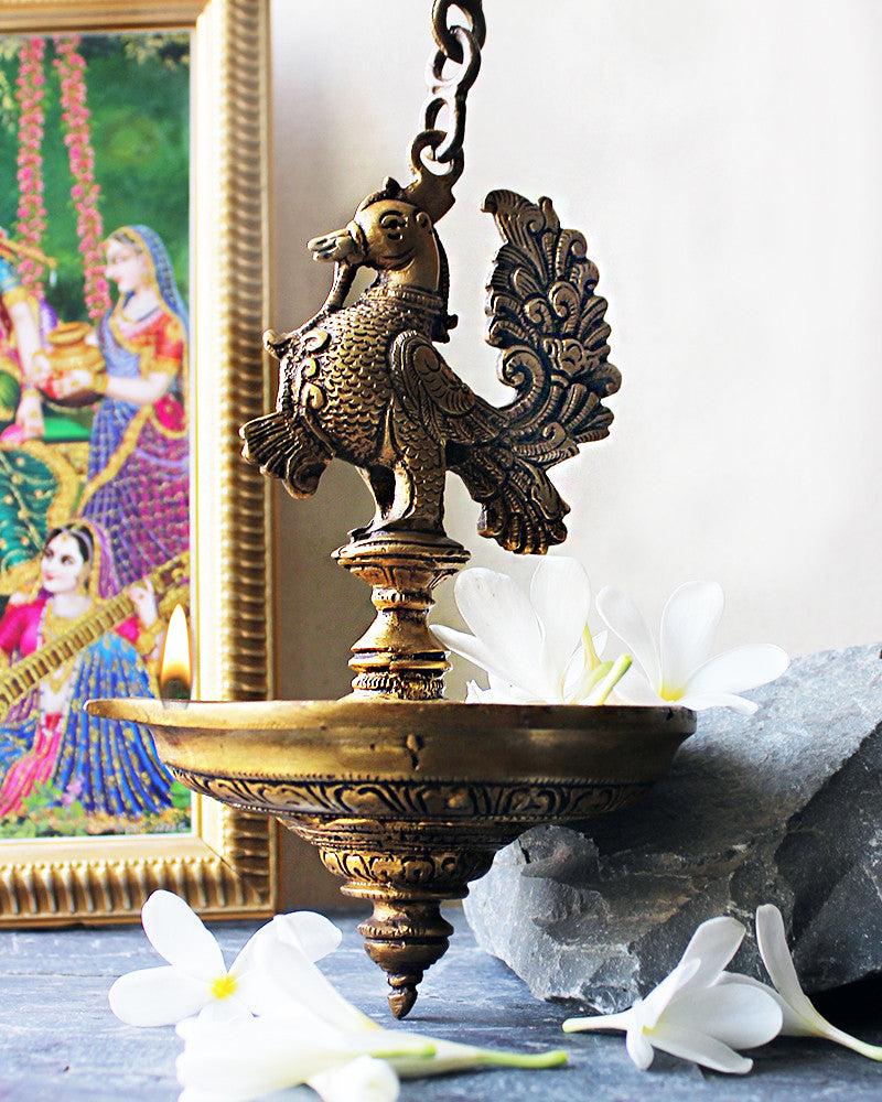 Exquisite Vintage Peacock On Oil Lamp Diya On A Chain - L 80 cm x Dia 14 cm