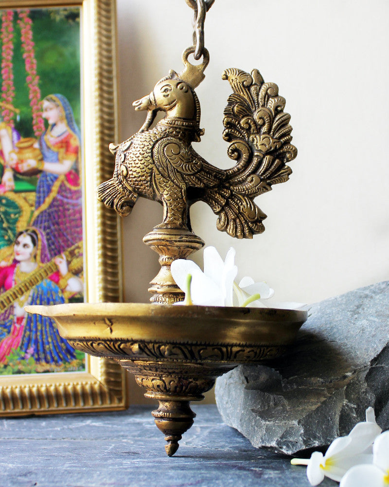 Exquisite Vintage Peacock On Oil Lamp Diya On A Chain - L 80 cm x Dia 14 cm - theindianweave