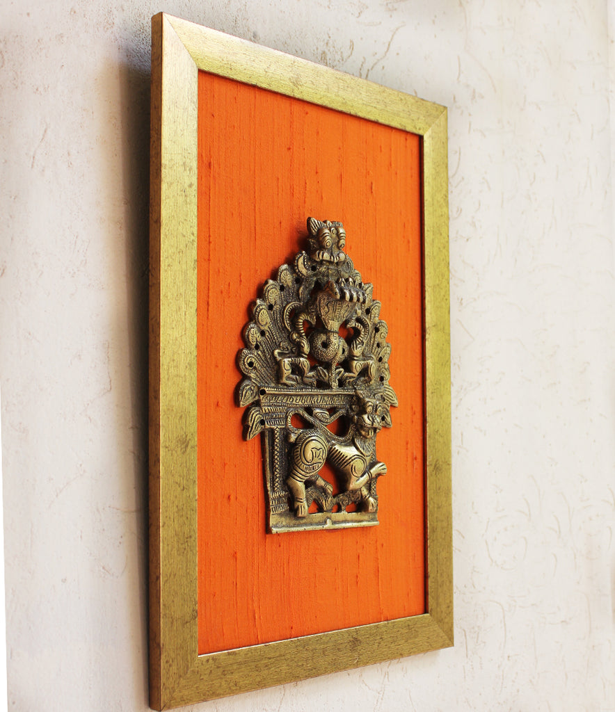 Brass Temple Frame With Mythical Yali & 5 Hooded Naag Framed On Orange Raw Silk - Ht 40 cm x W 26 cm