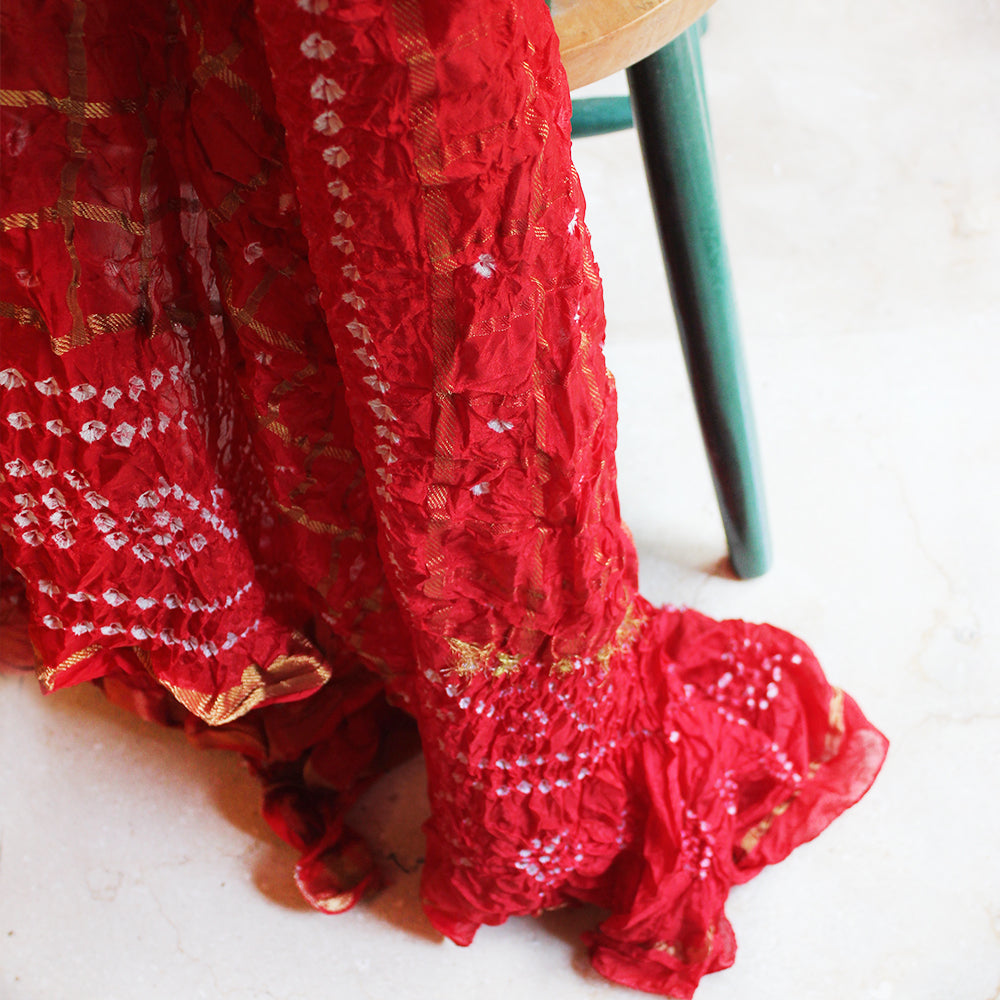 Traditional Gharchola Red And Gold Silk Dupatta | Scarf From Rajasthan. Length 225 cm x Width 90 cm