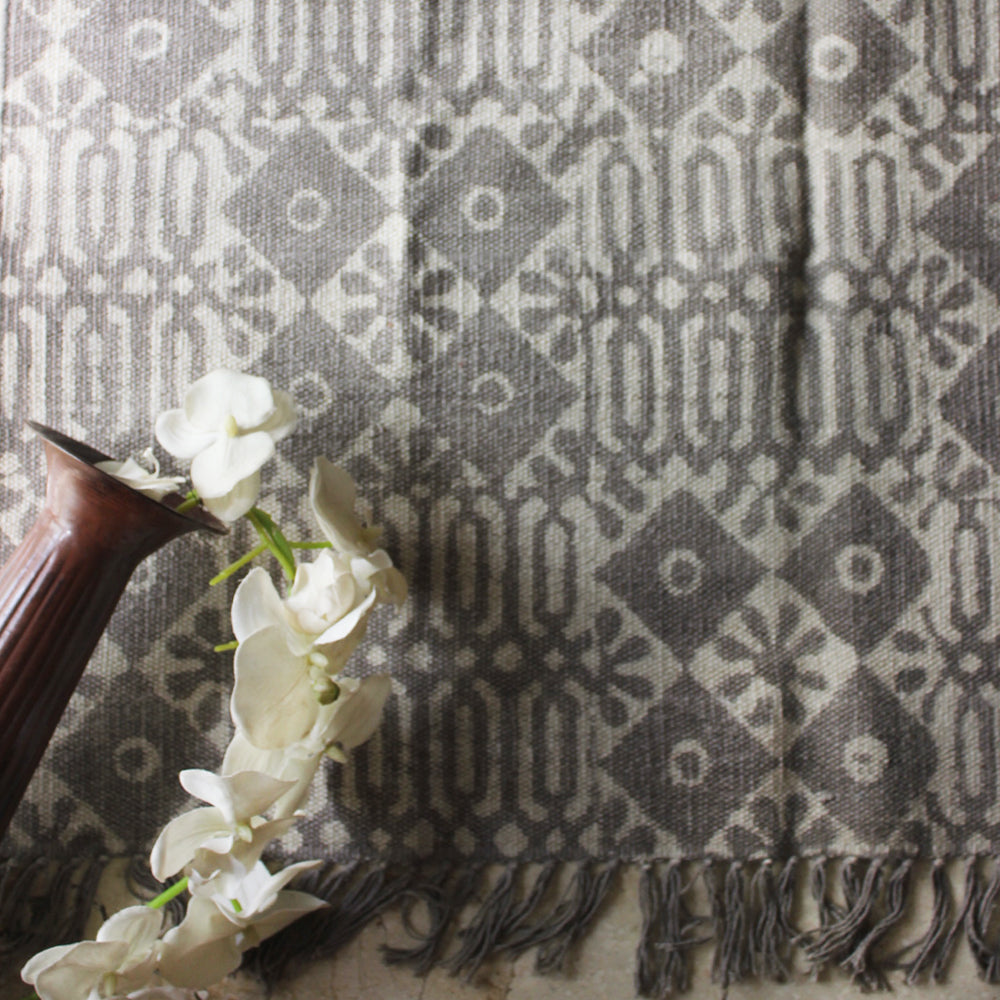 Pure Cotton Beige Rug | Dhurrie Hand Block Printed With A Geometric & Floral Pattern -  Size 5 ft x 3 ft