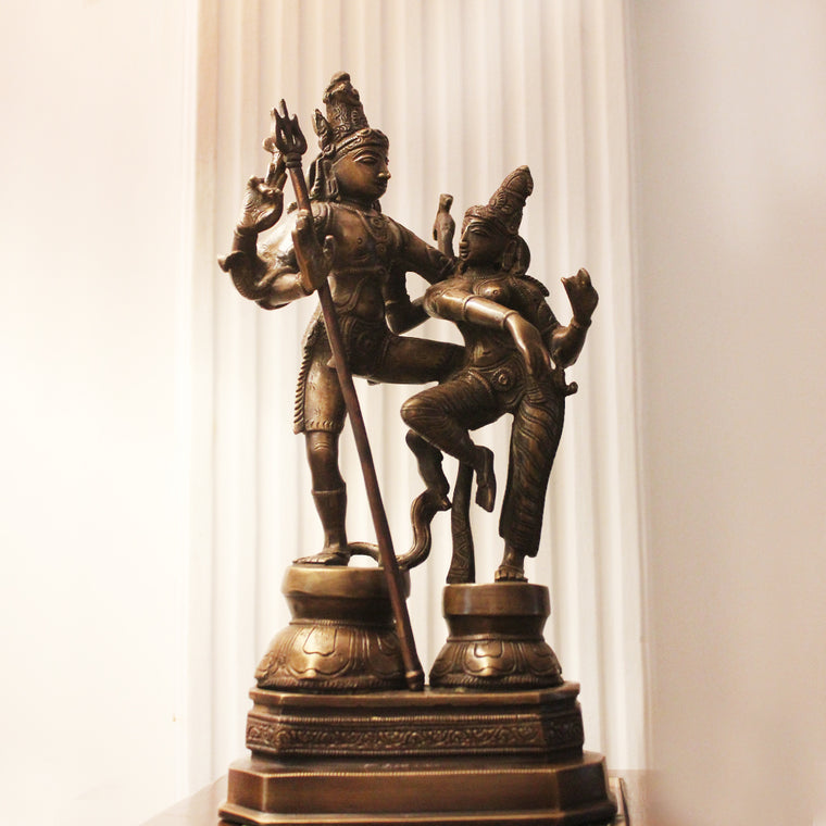 Majestic Brass Sculpture of Dancing Shiva & Parvati In A Rich Brown Patina - H 33 cm x W 26 cm