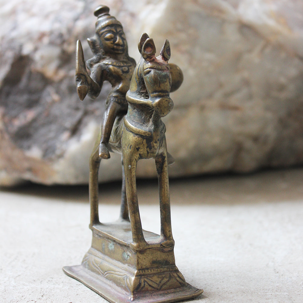 Heritage Brass Sculpture Of Hindu Diety Shiva On Horse As Khandoba With Sword - 15 cm Tall