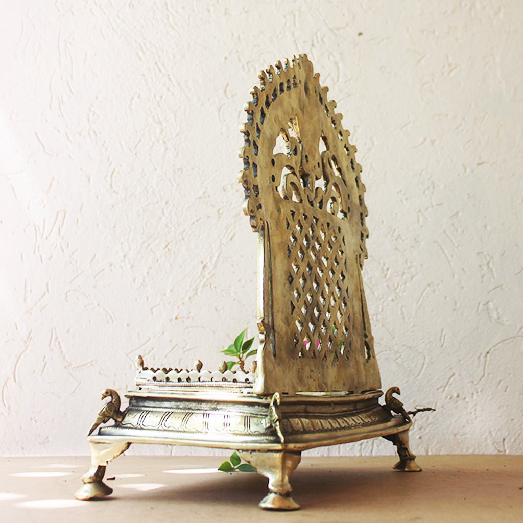 Magnificent Brass Throne | Singhasan With Prabhavali Crafted With Peacocks -  H 34 cm x W 31 cm x D 17 cm
