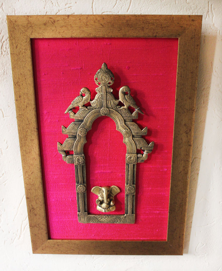 Vintage Brass Temple Frame or Prabhavali With Twin Peacocks & Lord Ganesha -  40 cm x 26 cm - theindianweave