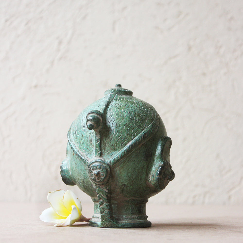 Brass Bust of Gangaur Gauri - Goddess of Fertility, Love & Devotion In Olive Green Patina. H 11 cm x W 11 cm