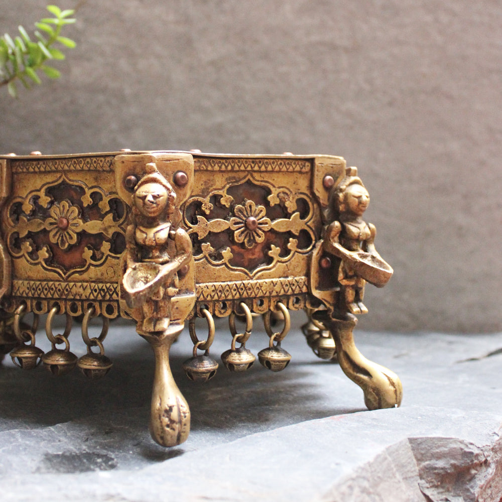 Brass Chowki | Stool With 6 Oil lamps & Ghungroos - Dia 17 cm x Ht 12 cm