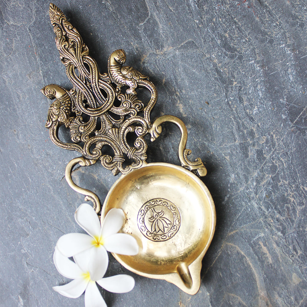 Majestic Oil And Wick Lamp | Diya  With Twin Parrots & Filigree Handle.  L29 cm x W11 cm
