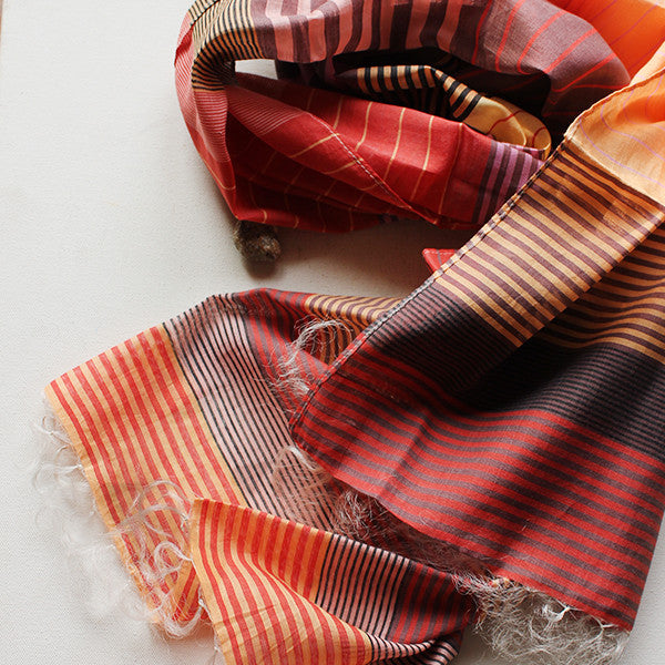 Orange Striped Multicoloured Handwoven Cotton Scarf