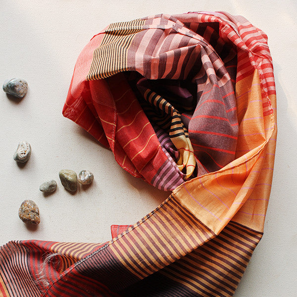 Orange Striped Multicoloured Handwoven Cotton Scarf - theindianweave
