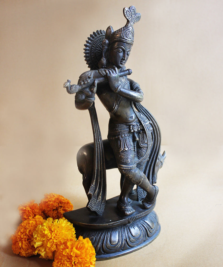 Vintage 36 cm Tall Brass Handcrafted Sculpture of Lord Krishna With The Sacred Cow