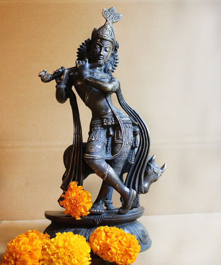 Handcrafted Brass Sculpture of Hindu Diety Lord Krishna With The Sacred Cow - Ht 36 cm
