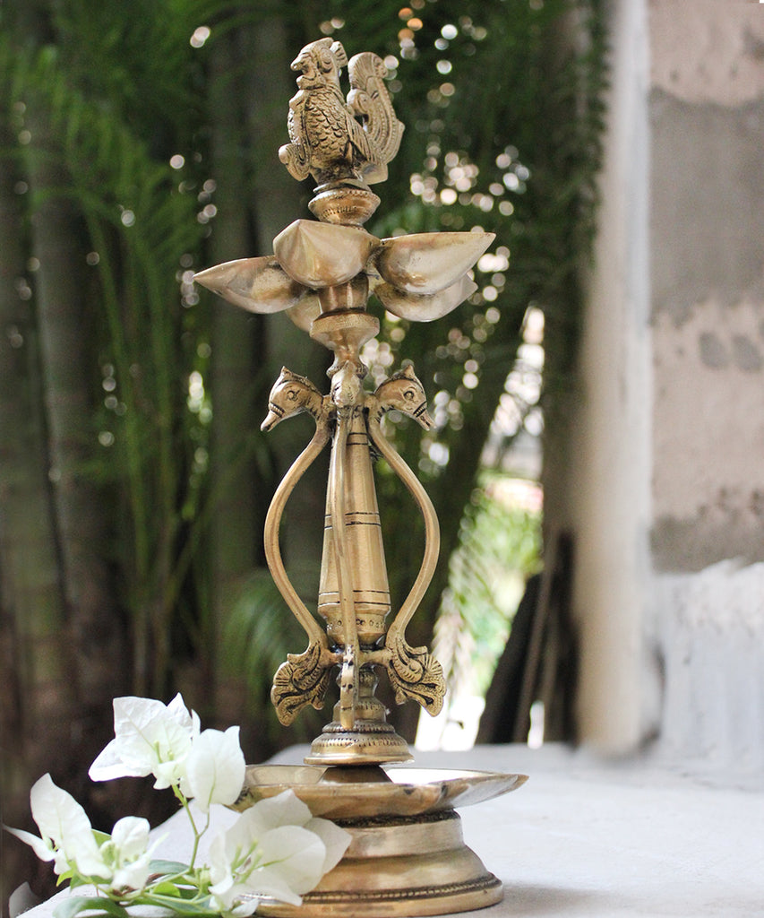 Handcrafted Brass Peacock Oil Lamp With 5 Diyas & 4 Exquisite Swans -  Ht 52 cm x Dia 19 cm