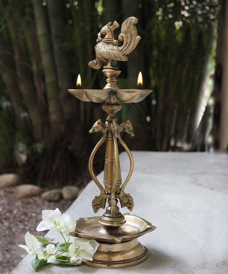 Handcrafted Brass Peacock Oil Lamp With 5 Diyas & Exquisite Swans -  Ht 52 cm