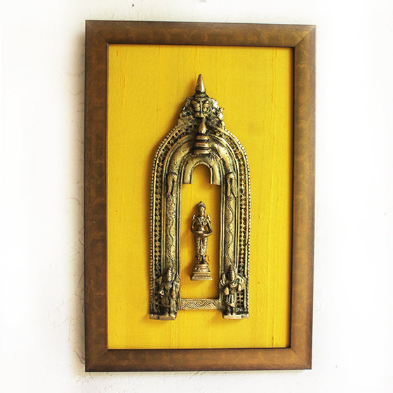 Magnificent Framed Brass Prabhavali With Mythical Yali & Deep Lakshmi On Gold Silk. Ht 47 cm x W 31 cm