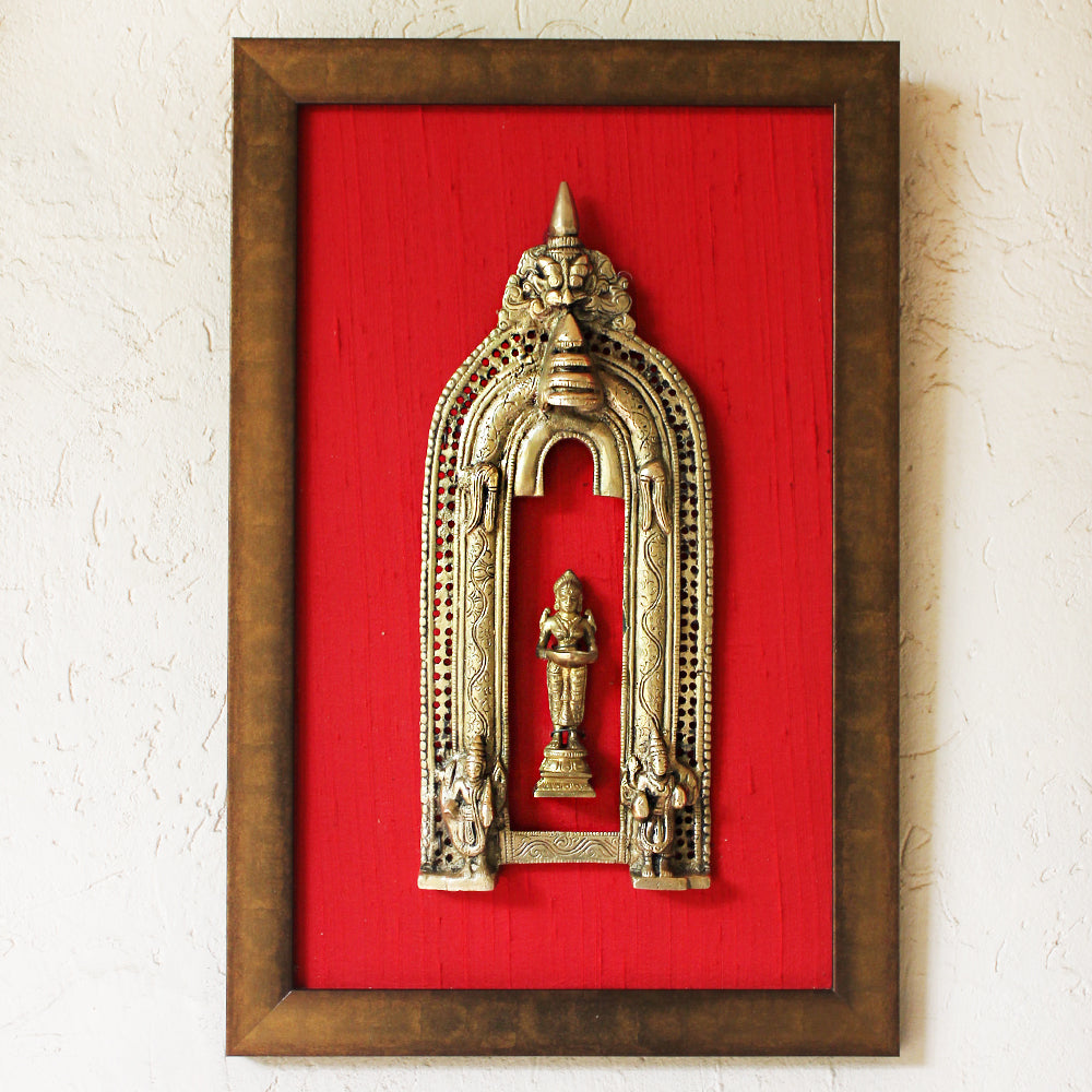 Brass Temple Prabhavali With Deep Lakshmi Framed On Red Raw Silk. Ht 47 cm x W 31 cm