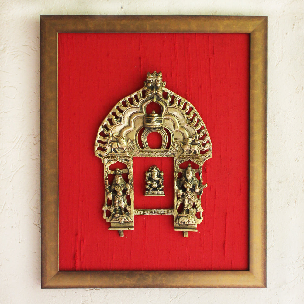 Magnificent Framed Brass Temple Prabhavali With Worshippers & Lord Ganesha On Red Raw Silk. Ht 45 cm x W 35 cm