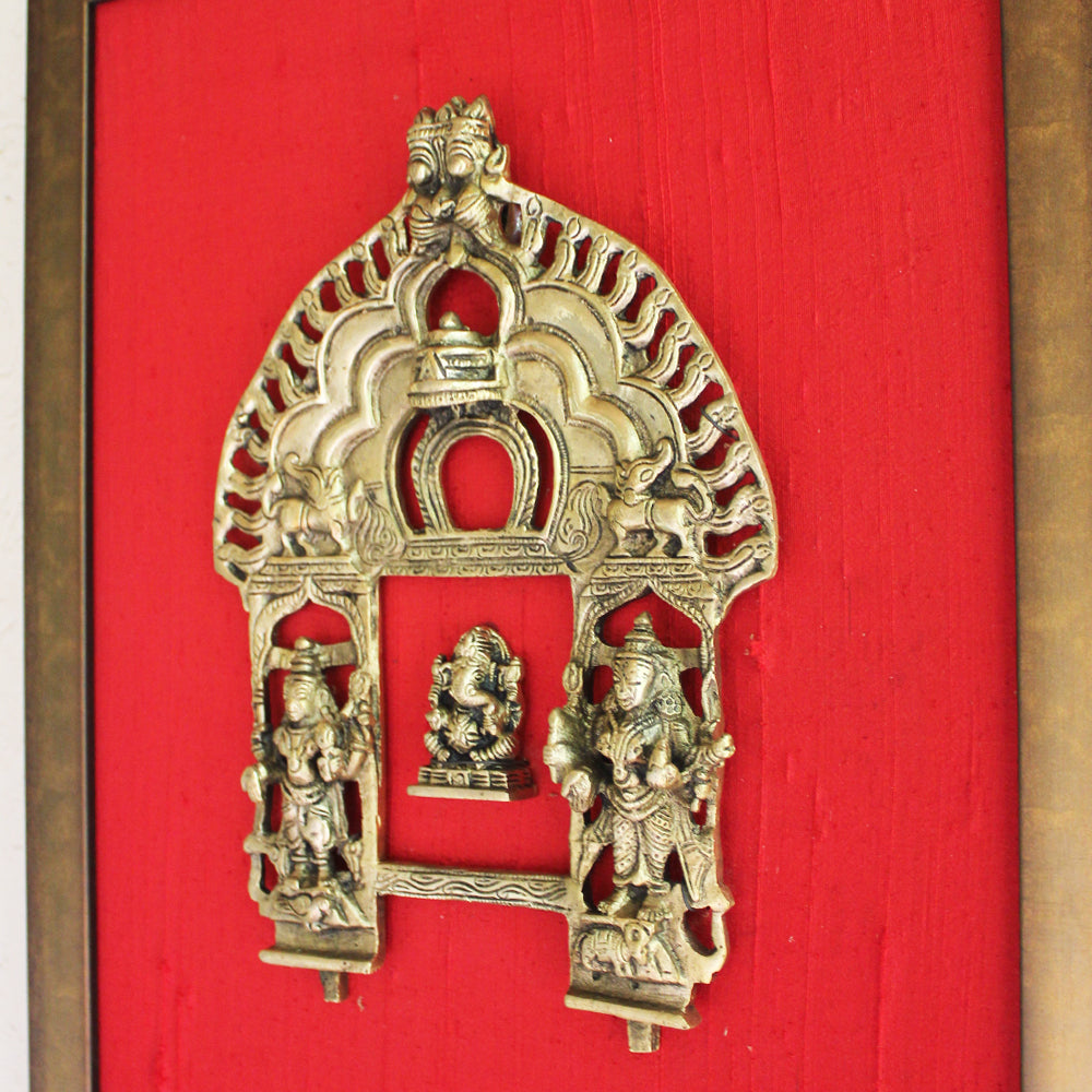 Magnificent Framed Brass Temple Prabhavali With Mythical Yali & Lord Ganesha On Raw Silk. Ht 45 cm x W 35 cm