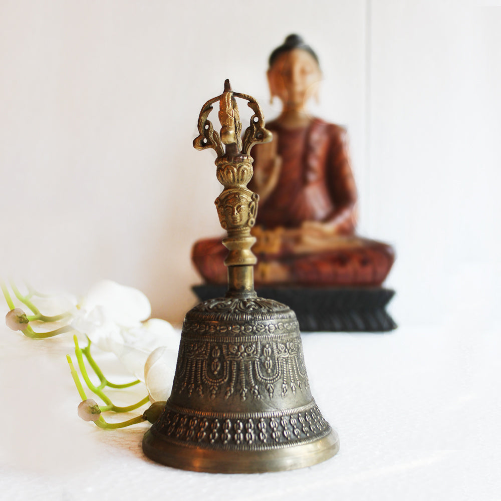 Vintage Buddhist Brass Bell For Meditation With Sound Of Om & Vajra Dorje - Ht 18cm x Dia 9.5 cm