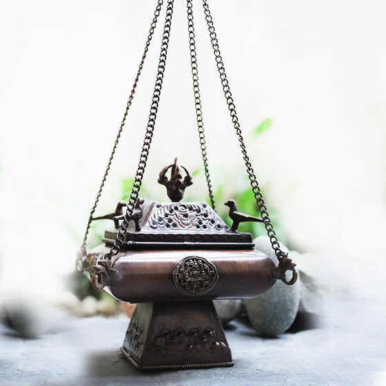 Traditional Tibetan Style Copper Incense Burner With Peacocks and Chains - L 42 cm x W 15 cm