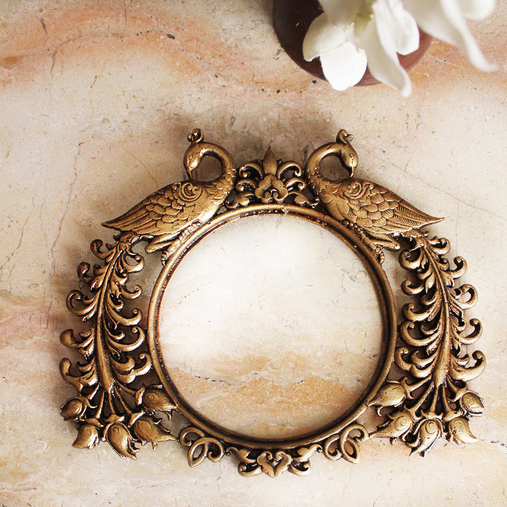 Exquisite Brass Mirror | Photo Frame With Twin Peacocks and Filigree Work - Length 26 cm x Height 22 cm
