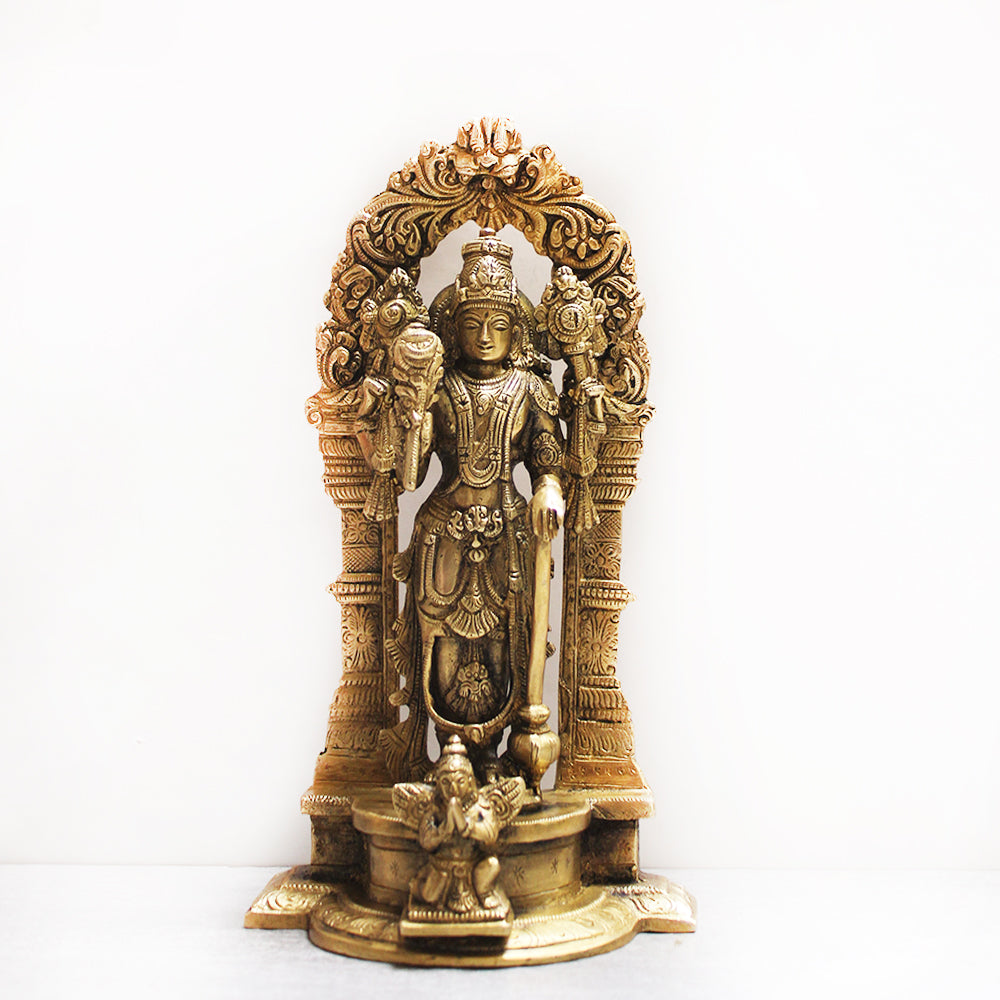 Vintage Brass Sculpture of Lord Vishnu - Protector Of The World. Height 24 cm x Width 13 cm
