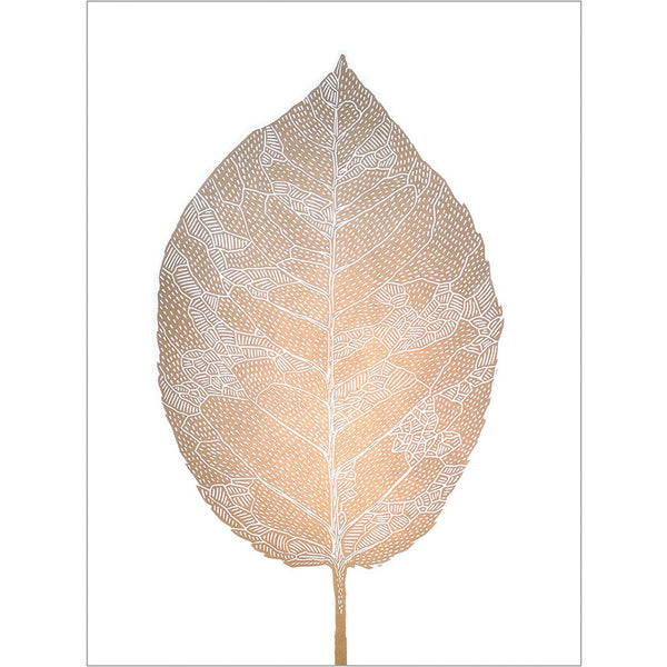 Birch Leaf Lino Print gold/white